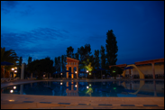 Hotel's pool in the night
